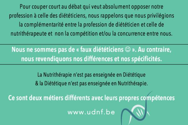 Position de l'UDNF – Suite à la campagne contre les charlatans !
